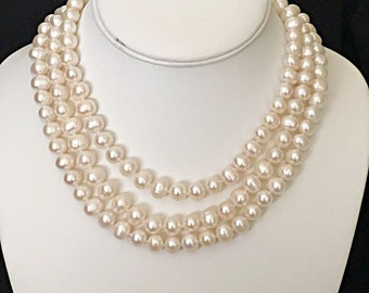 Long Classic pearl necklace