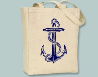 Vintage Anchor illustration on Canvas Tote with shoulder strap - Selection of sizes available, ANY IMAGE COLOR