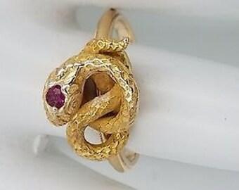 14kt yellow gold snake ring