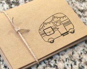 Camper Trailer Caravan Blank Cards Set of 5 Folded hand stamped teacher gift stocking stuffer outdoors housewarming retirement