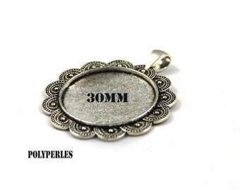 Silver Flower necklace 30mm glass cabochon