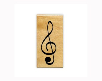 G Clef / Treble Clef lg. mounted rubber stamp, music symbol, Sweet Grass Stamps No.2
