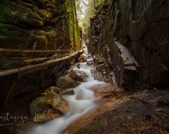 ALUMINUM METAL Photography Print of the Flume Gorge in Lincoln New Hampshire