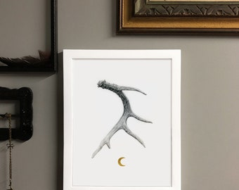 Moonshed Archival Pigment Print of Original Graphite Deer Antler Drawing with 24kt Gold Leaf Crescent Moon in White Frame