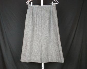Vintage Skirt Gray Wool Blend A-Line Midi Women's S 12 Evan Picone 70s