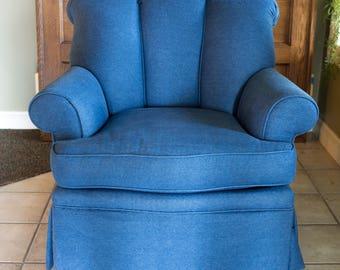 Blue Denim Chair   Reupholstered Vintage Furniture   Milo Milo