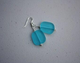 Aqua Sea Glass Earrings, Seaglass Earrings Sea Glass Jewelry, Beach Glass Earrings, Beach Glass Jewelry, Beach Jewelry, Seaglass Jewelry 070