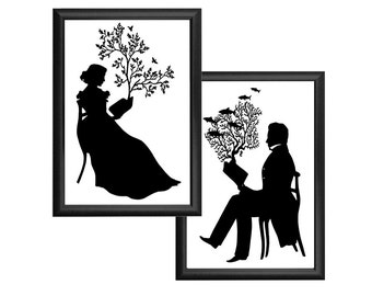 Silhouette Print Set Reading Nautical Book Black and White Tree Birds Coral Fish