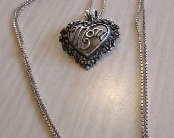 Sterling Silver Mom Heart Necklace
