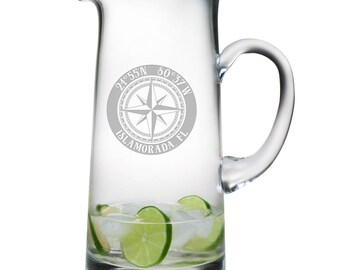Custom Coordinates Compass Rose Tankard Pitcher, Latitude Longitude Glassware