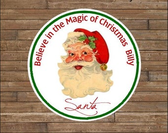 Personalized Christmas Stickers Santa Stickers   Believe in the Magic of Christmas    BELIEVE Tags