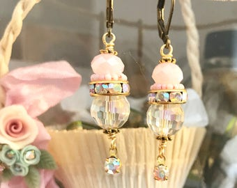 romantic soft pink dangle earrings with vintage Swarovski crystals and beads  #1069-9