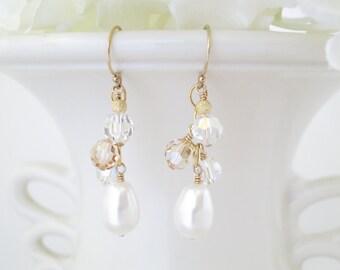 Gold cluster bridal earrings, Pearl teardrop wedding earrings, Swarovski crystal and pearl dangle earrings, Mother of the bride jewelry