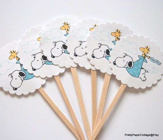 Snoopy Baby Shower Cupcake Toppers Baby Boy Blue Baby Girl