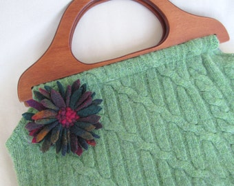 Upcycled Sweater Bag, Wooden Handles, Green with Proddy Flower
