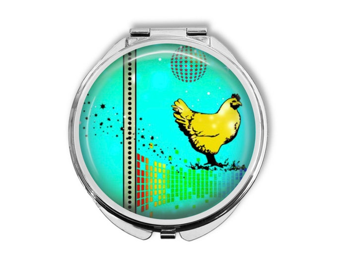 Disco Chicken Compact Mirror Pocket Mirror Large