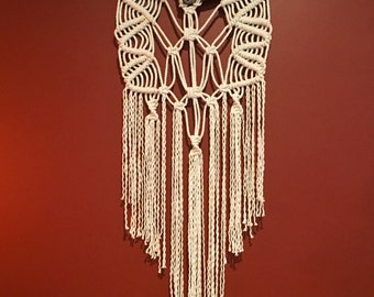 Small Symmetrical Macrame Wall Hanging on Natural Driftwood