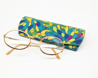 Vintage Eyeglasses Frames HUD-US Oval 1/20th 12k Gold Filled  5-1/2 W/Case Psychedelic Colors 70's case Boho Hippie Reading Bifocals Glasses