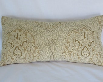 "Cream and Gold Chenille Medallion Pillow Cover, 11 x 21"" Rectangle Lumbar, Heavy Chenille, Luxury Carved Lace Texture, Ivory Beige"