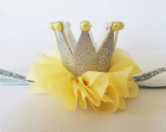 Silver and Yellow Baby Crown Headband - SIlver Crown Headband - SIlver Glitter Crown - Princess Crown - First Birthday Headband - Photo Prop