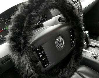 Black Fuzzy Steering Wheel Cover, Car accesories, Faux Fur Steering Wheel Cover