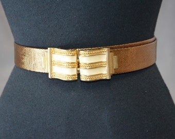 NOS Vintage Mimi Di N Gold Cream Enamel Scroll Belt and Buckle Set. Bronze Copper Belt NOS  Adjustable.
