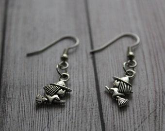 Silver Witch Earrings - Halloween Jewelry – Metal Earrings - Dangle Earrings