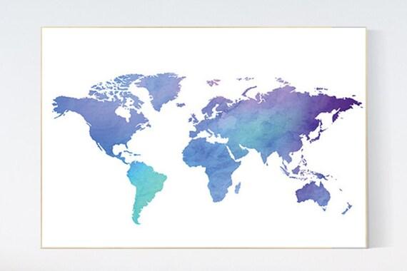 Pastel World Map print nursery wall art baby's nursery