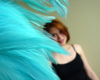 BELLA SADDLE FEATHER, Exclusive Quality  / Turquoise, Aqua, Ocean Blue / 116