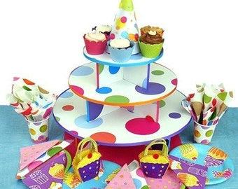 Clearance Polka Dot Sturdy Cupcake Stand - fits 50 cupcakes