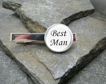 Best Man Tie Clip, Gold or Silver Tie Clip, Best Man Tie Bar