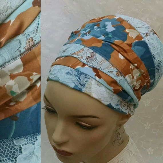 Feminine floral cotton and lace sinar tichel, tichels, head wrap, chemo scarf, head covering, head scarf, hair snood, Jewish