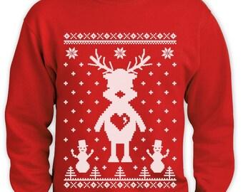 Cute Reindeer Ugly Christmas Sweater Men Funny Sweatshirt