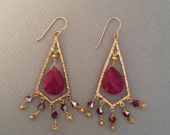 Chandelier Earrings Brass with Swarovski Red Quartz Crystal Earrings FREE SHIPPING