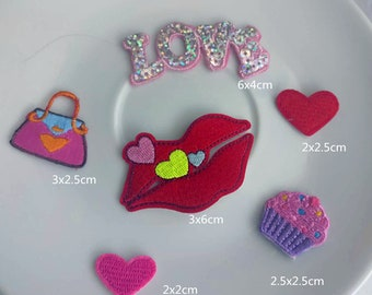 6pcs/lot Cupcake heart Love collecton   embroidered  iron on patch