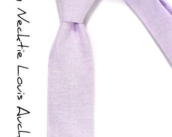Lilac Lavender chambray necktie - Wedding Mens Tie Skinny Necktie - Laid-Back tie
