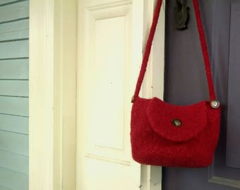 Deep red barrel front flap shoulder bag purse hand knit felted fully lined one of a kind