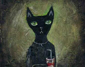 vegetarian vampire cat - print from original painting  - 18,5x 18,5 cm