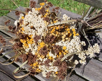 Dried flowers.  Wildflower bouquet, yellow, white, chocolate brown with Tansy, Yarrow, and Bulrush.  Floral arrangement, centerpiece.