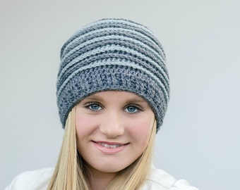Ribbed Beanie - crochet hat pattern No.306 using Double Knitting DK weight yarn (US = Light or 3, AUS = 8ply) yarn English
