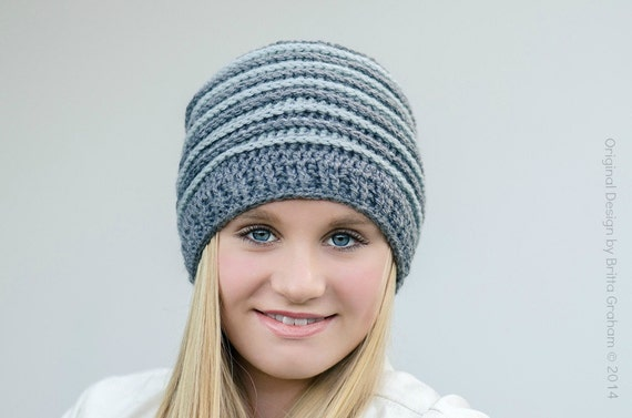 Ribbed Beanie Crochet Hat Pattern No306 Using Double