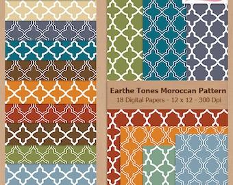 Digital Scrapbook Paper Pack - MOROCCAN PATTERN - Earth Tones - Instant Download