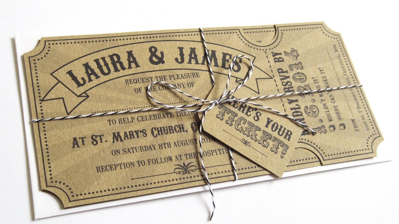 Circus Ticket Wedding Invitation Fun Fair Carnival