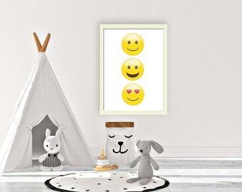Happy emojis, kids wall art, comic book art, kids wall art, girls bedroom art, playroom wall art, gift for girls, girls wall art,