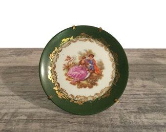 Vintage Limoges Miniature Plate with Stand, Goudeville, Fragonard Love Story, Forest Green and Gold, Courting Couple, Porcelain, France