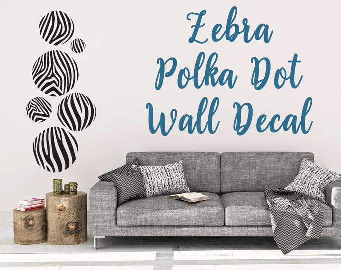 Zebra Print Polka Dot Wall Decal - Wall Decal - Zebra Print - Polka Dot Wall Decal - Zebra Wall Decor - Wall Art - Polka Dot Decal - Zebra