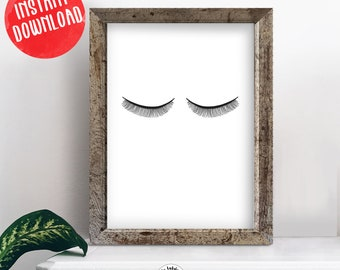 Thin Eyelashes Closed Eyes Hand Drawn Black and White Printable, Instant Download Wall Art