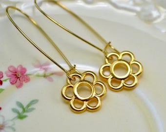 Golden Flower Earrings, Daisy Drop Earrings, Long Gold Earrings, Gold Flower Jewelry, Simple Flower Dangle Earrings, Flower Gift for Women