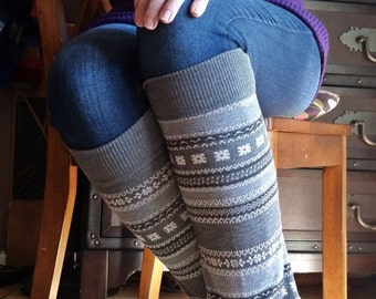 Black and White Nordic Too Cool for School Upcycled Sweater Leg Warmers