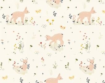 Organic DOUBLE GAUZE Fabric - Birch Little - LIttle Deer Double Gauze
